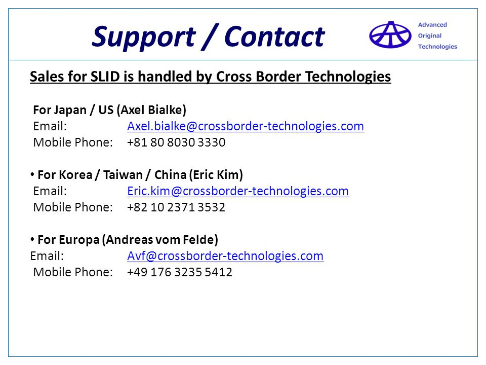 Support / Contact Sales for SLID is handled by Cross Border Technologies.