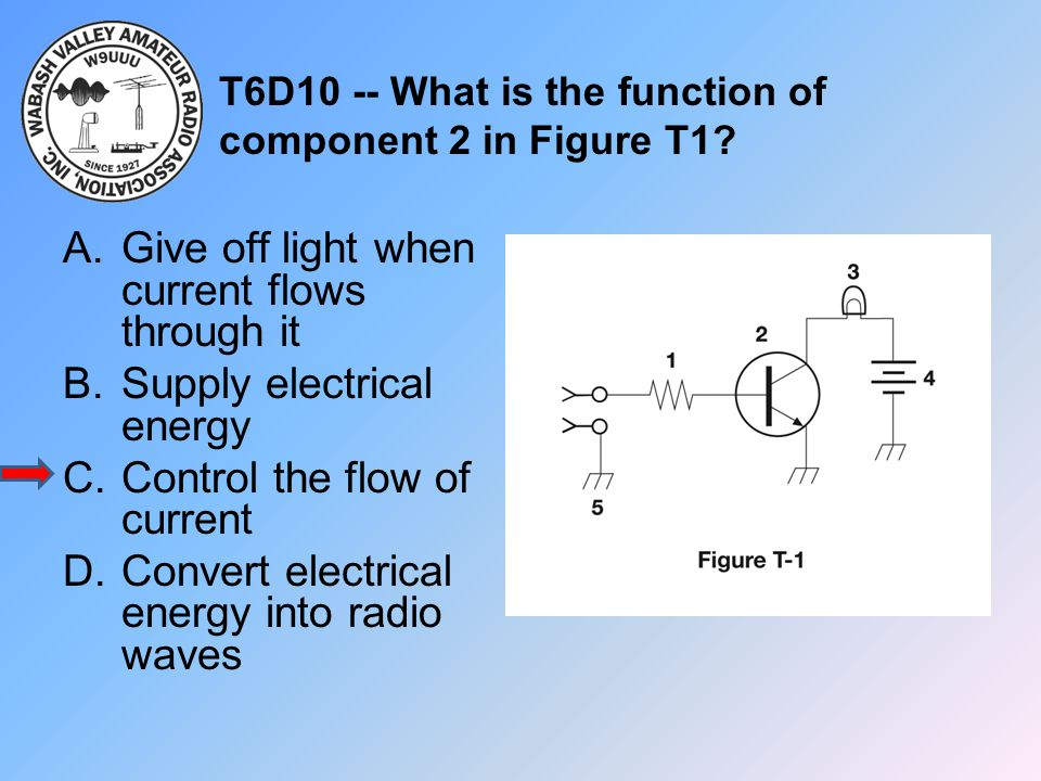 T6D10 -- What is the function of component 2 in Figure T1
