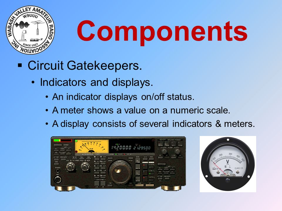 Components Circuit Gatekeepers. Indicators and displays.