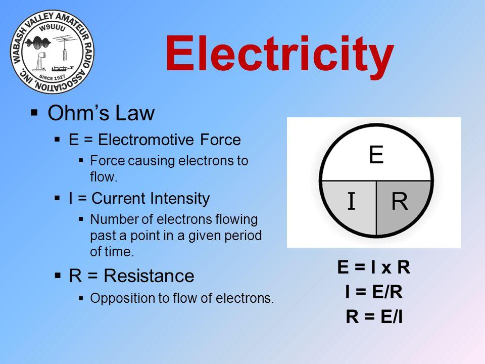 Electricity Ohm's Law R = Resistance E = I x R I = E/R R = E/I