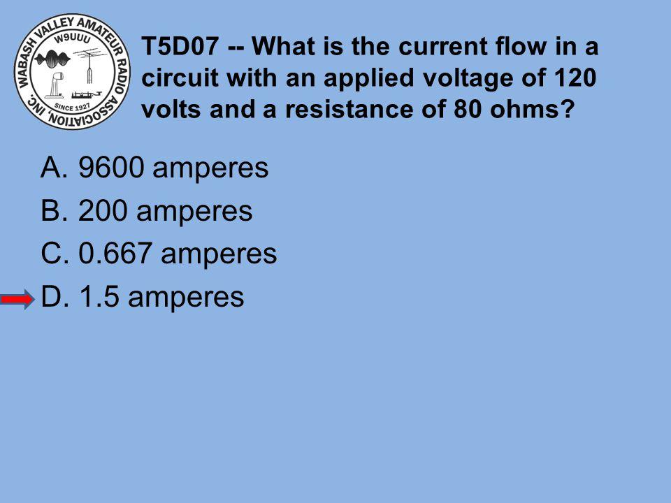 9600 amperes 200 amperes 0.667 amperes 1.5 amperes