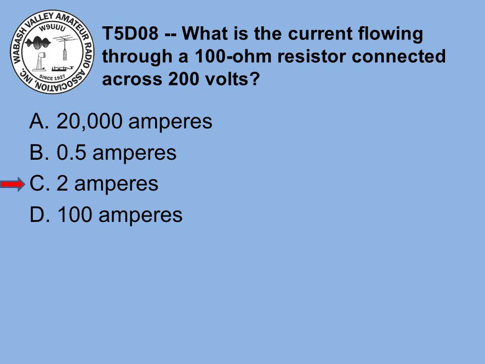 20,000 amperes 0.5 amperes 2 amperes 100 amperes