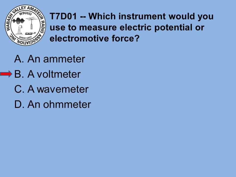 An ammeter A voltmeter A wavemeter An ohmmeter