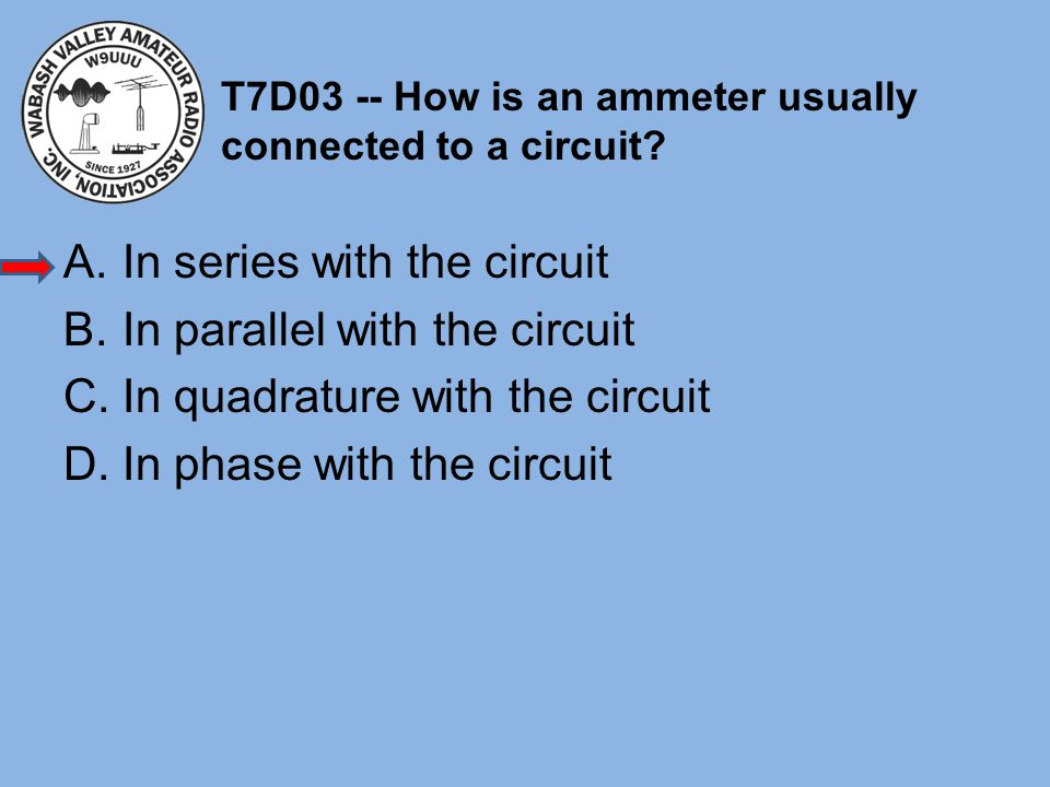 T7D03 -- How is an ammeter usually connected to a circuit