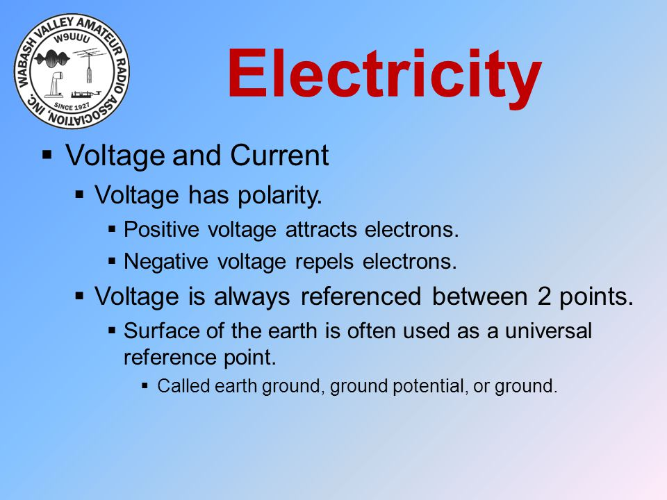 Electricity Voltage and Current Voltage has polarity.