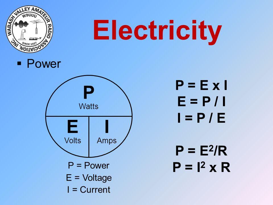 Electricity P E I P = E x I E = P / I I = P / E P = E2/R P = I2 x R