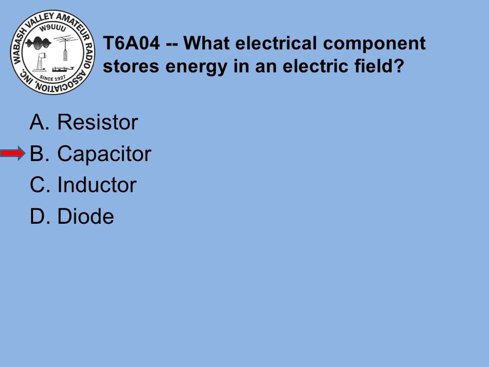 T6A04 -- What electrical component stores energy in an electric field
