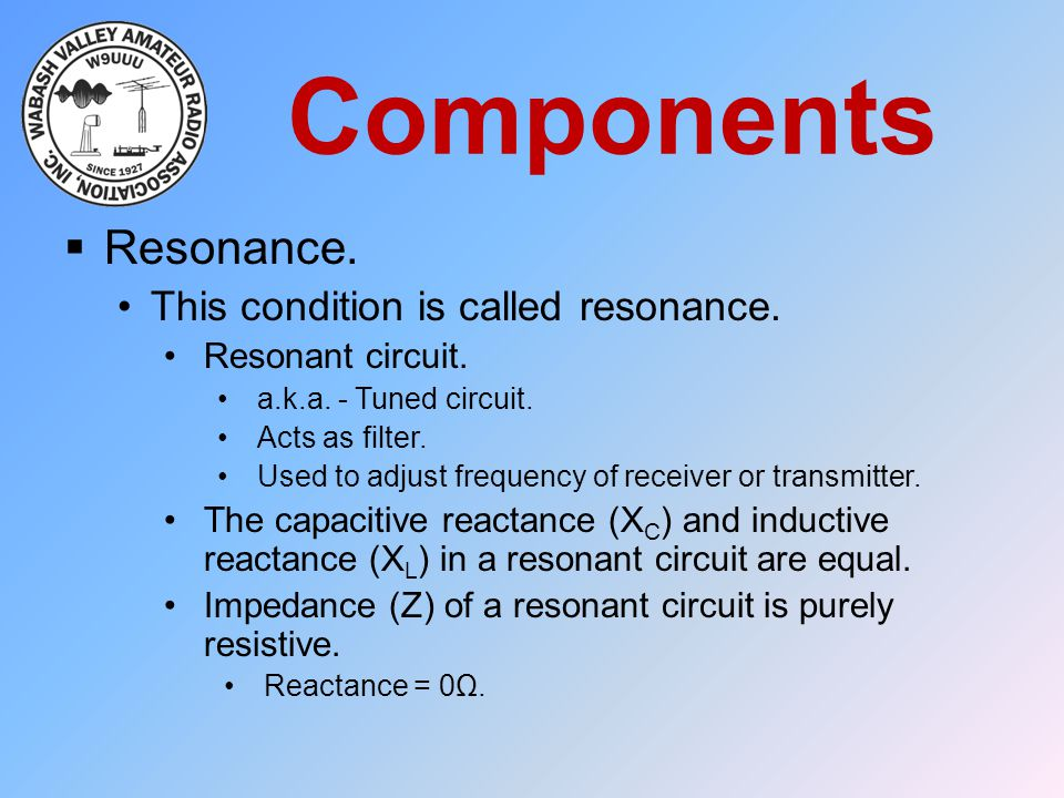 Components Resonance. This condition is called resonance.