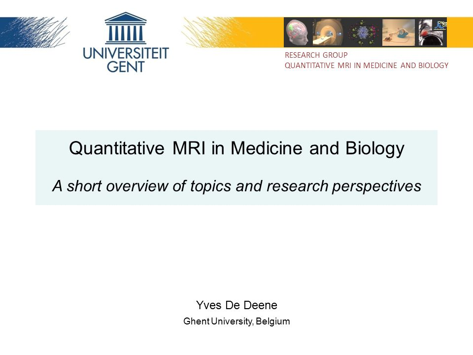 Quantitative MRI in Medicine and Biology