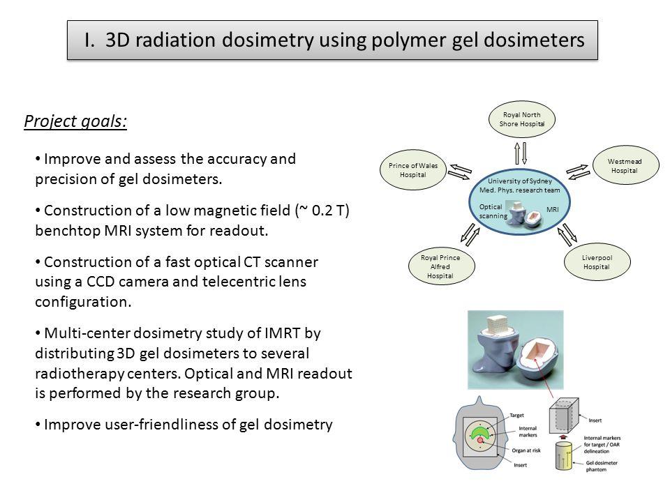 I. 3D radiation dosimetry using polymer gel dosimeters