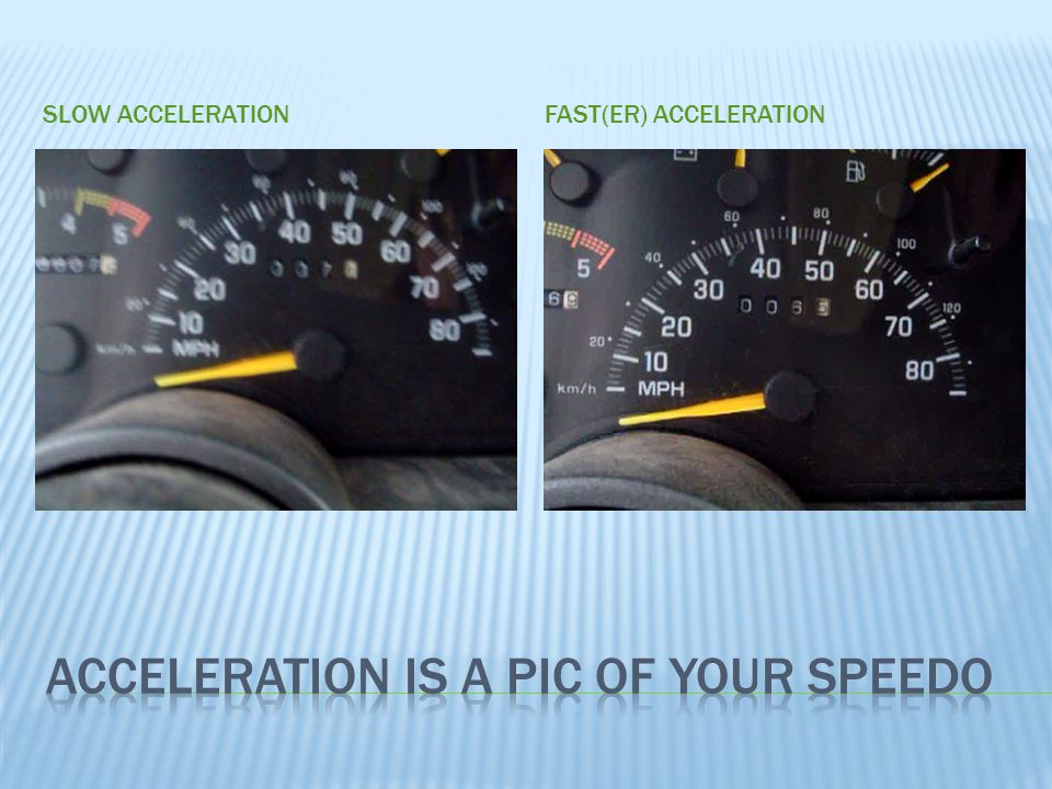 Acceleration is a pic of your Speedo
