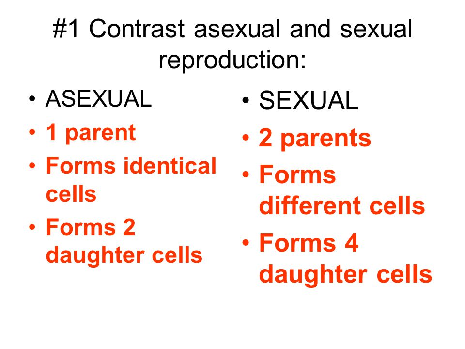 #1 Contrast asexual and sexual reproduction: