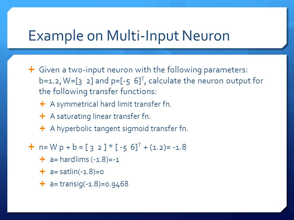 Example on Multi-Input Neuron