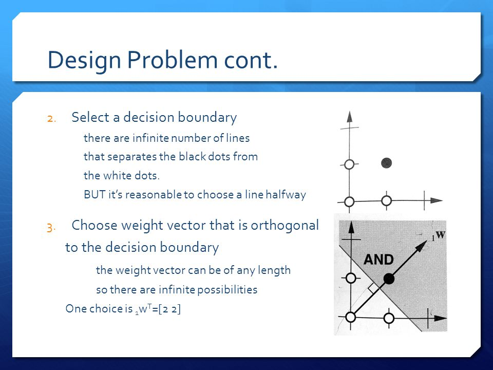 Design Problem cont. Select a decision boundary