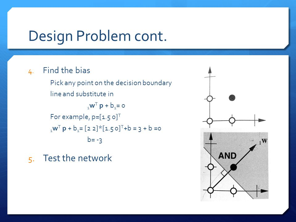 Design Problem cont. Test the network Find the bias