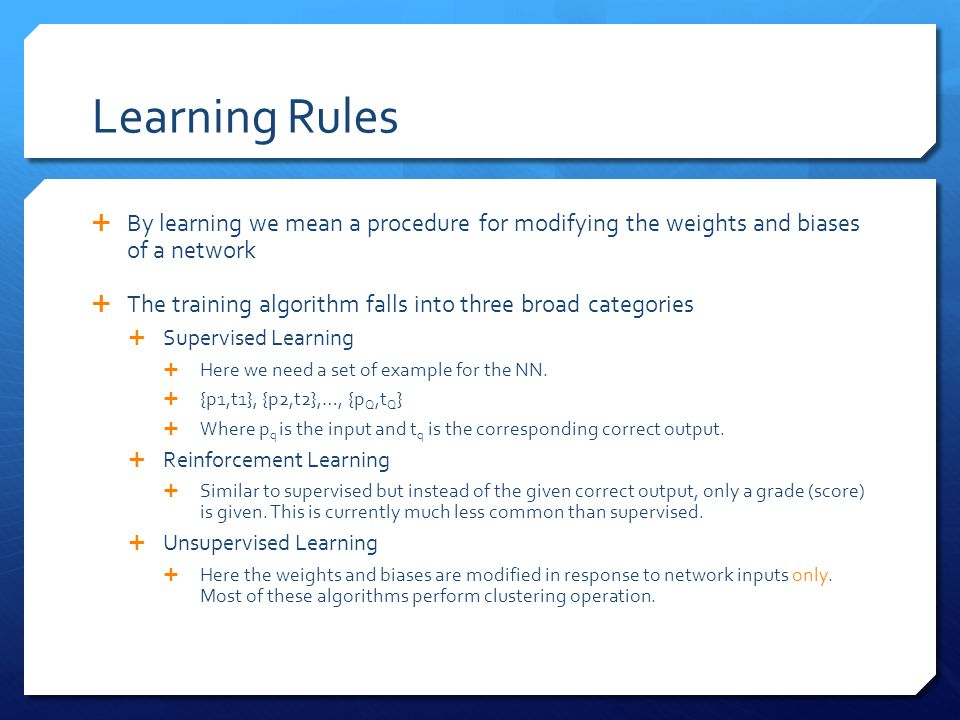 Learning Rules By learning we mean a procedure for modifying the weights and biases of a network.