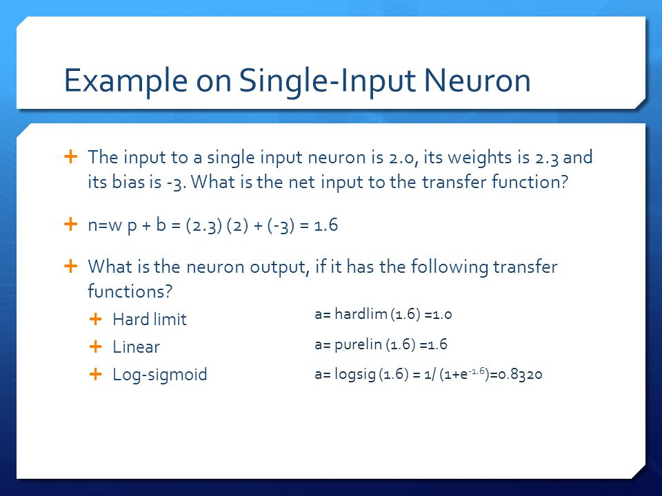 Example on Single-Input Neuron