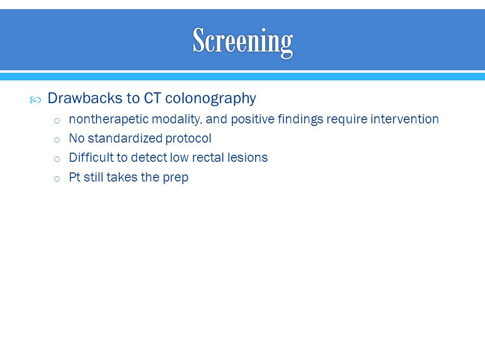 Screening Drawbacks to CT colonography