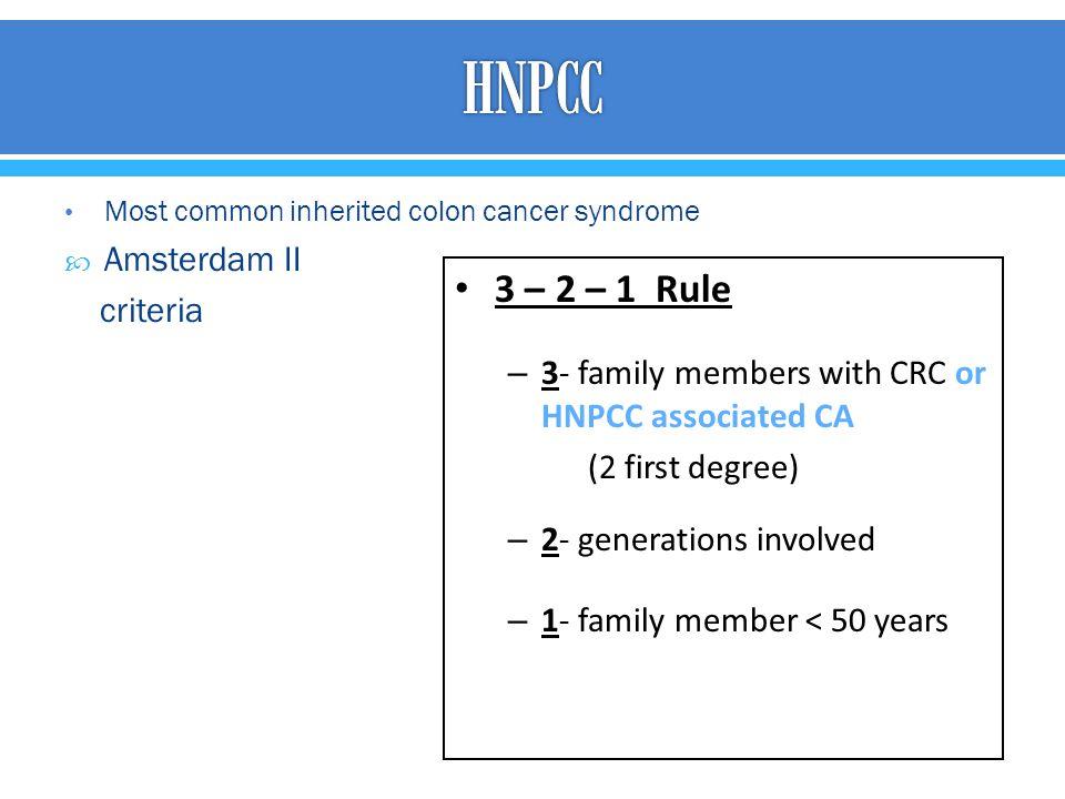 HNPCC 3 – 2 – 1 Rule Amsterdam II criteria
