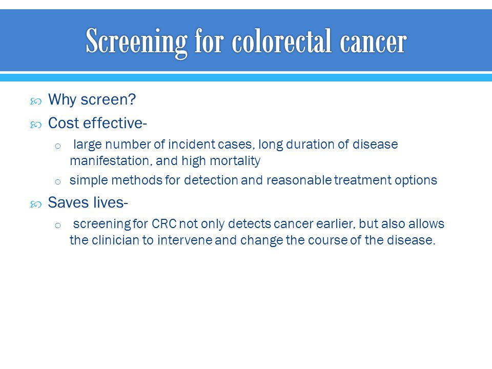 effective cancer screening methods Introduction the aim of population screening, such as colorectal cancer (crc) screening, is to discover latent disease in its early stages to treat it adequately before it poses a threat to the individual[] as such, screening is a commendable method to fight disease.