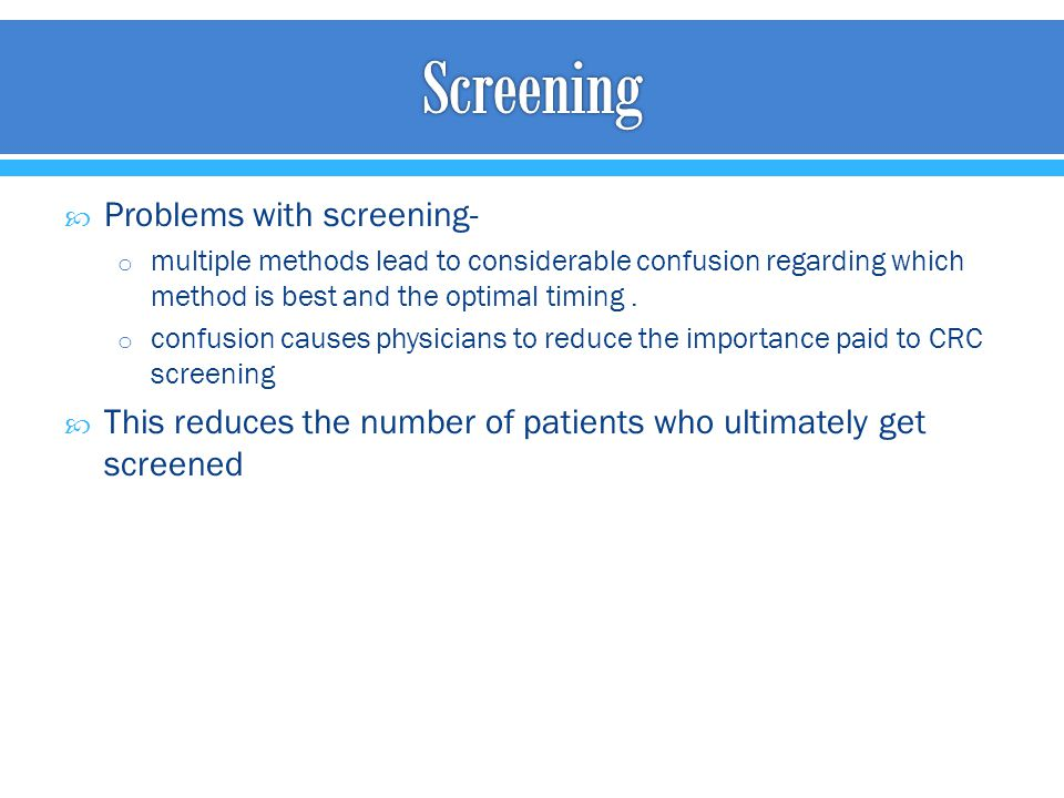 Screening Problems with screening-