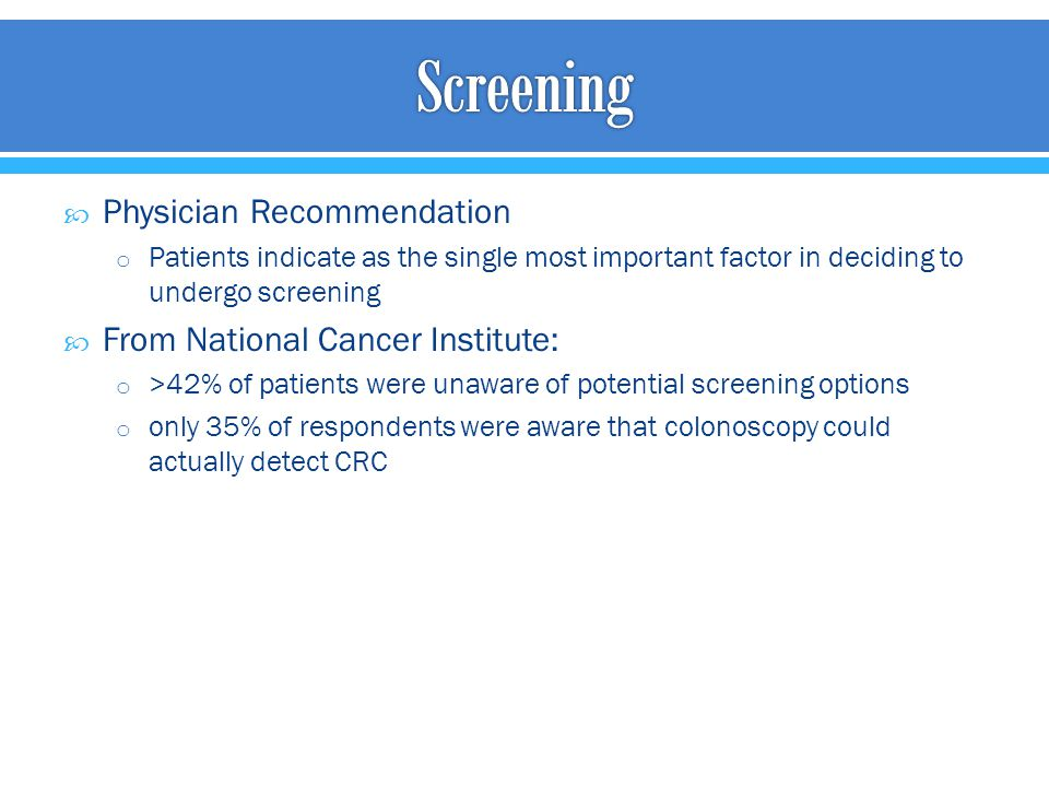 Screening Physician Recommendation From National Cancer Institute:
