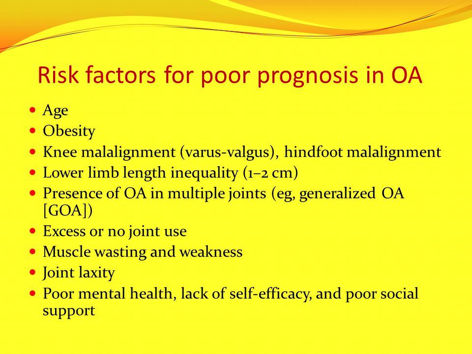 Risk factors for poor prognosis in OA