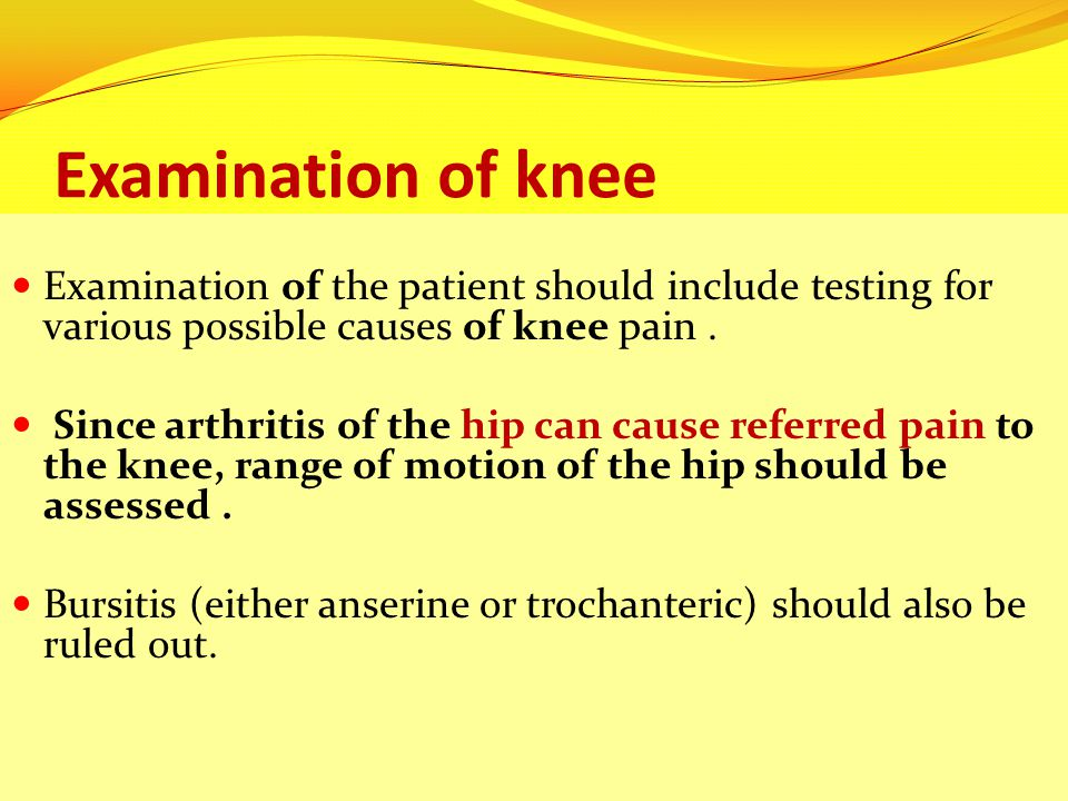 Examination of knee Examination of the patient should include testing for various possible causes of knee pain .