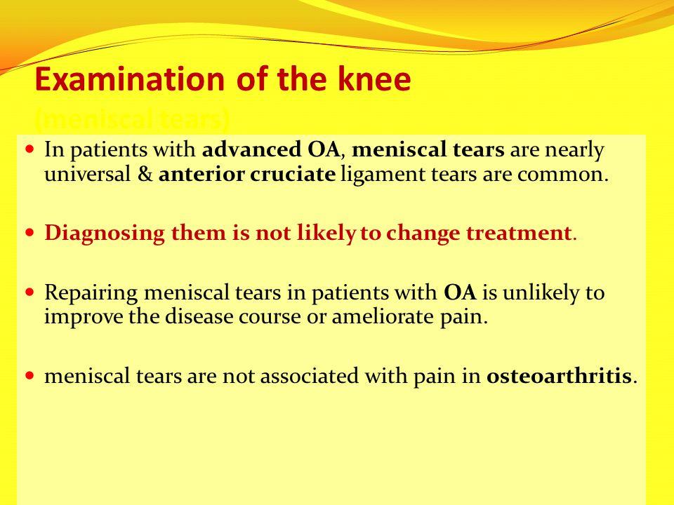 Examination of the knee (meniscal tears)