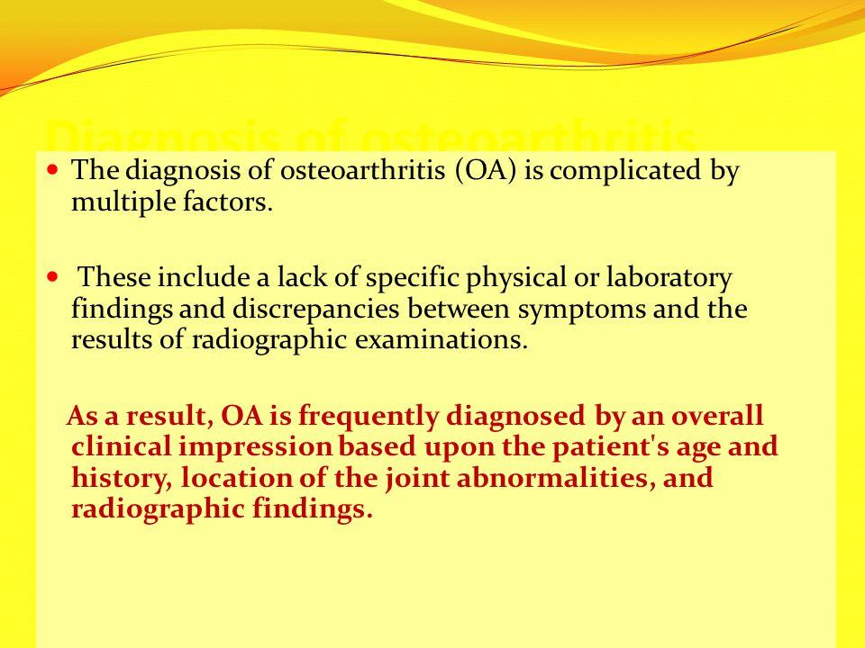 Diagnosis of osteoarthritis