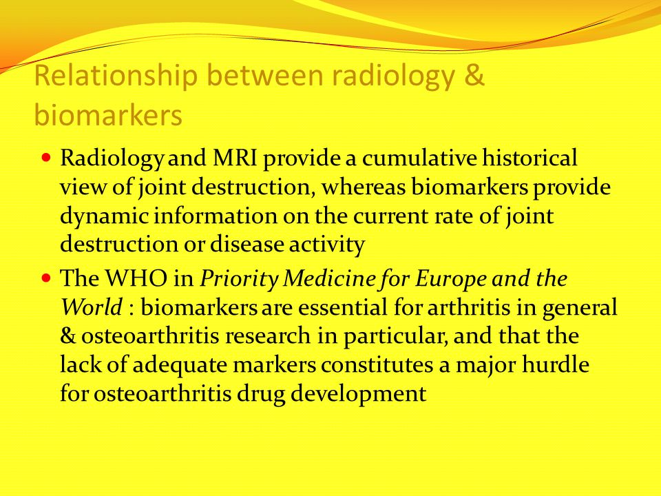 Relationship between radiology & biomarkers