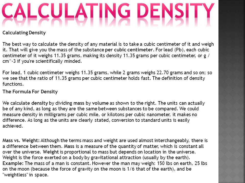 Calculating DENSITY Calculating Density