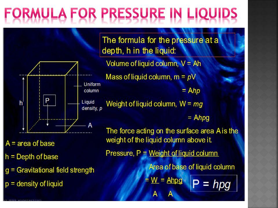 Formula for Pressure in liquids