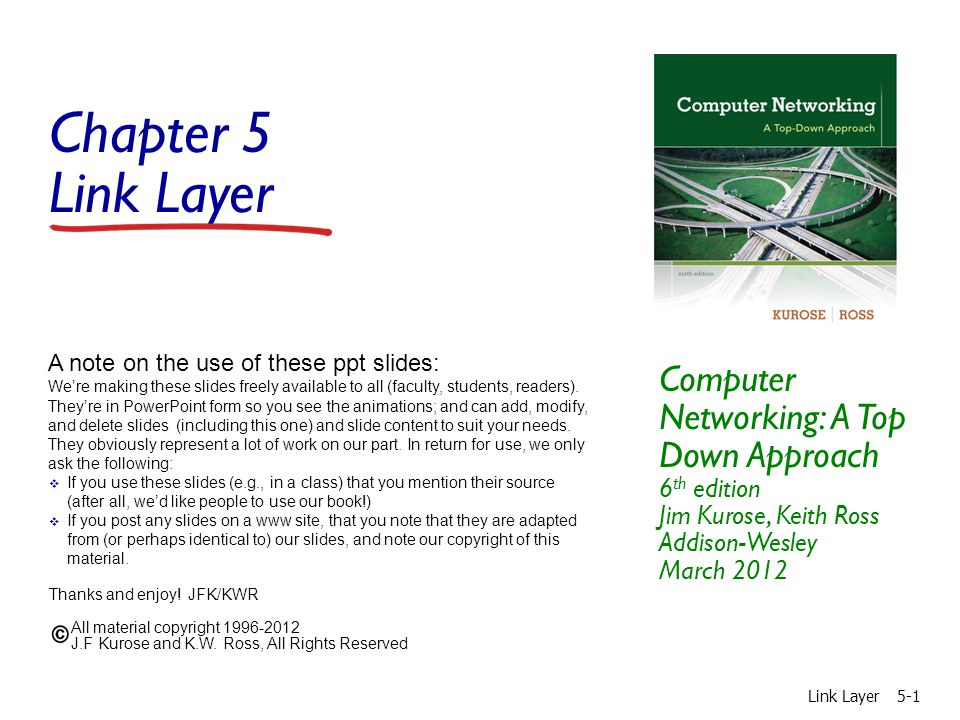 Chapter 5 Link Layer Computer Networking: A Top Down Approach 6th edition Jim Kurose, Keith Ross Addison-Wesley March 2012.