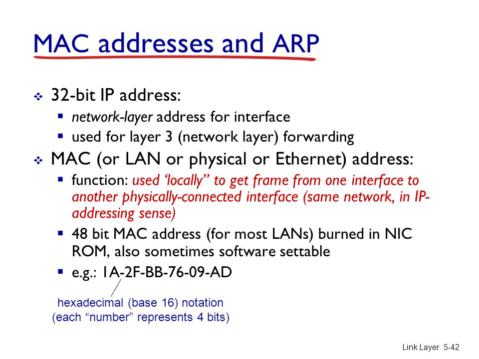 MAC addresses and ARP 32-bit IP address: