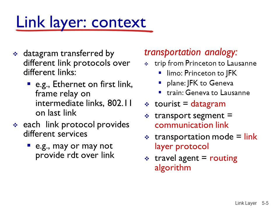 Link layer: context transportation analogy: