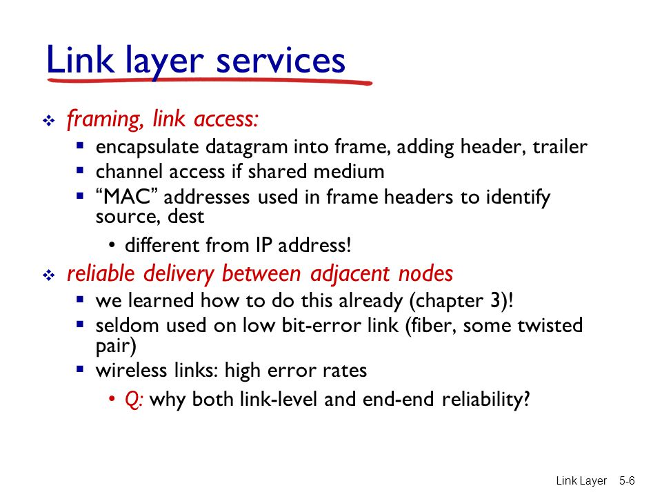 Link layer services framing, link access: