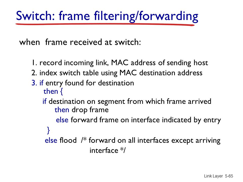 Switch: frame filtering/forwarding
