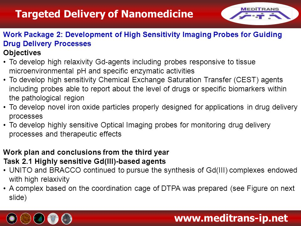 Work Package 2: Development of High Sensitivity Imaging Probes for Guiding Drug Delivery Processes