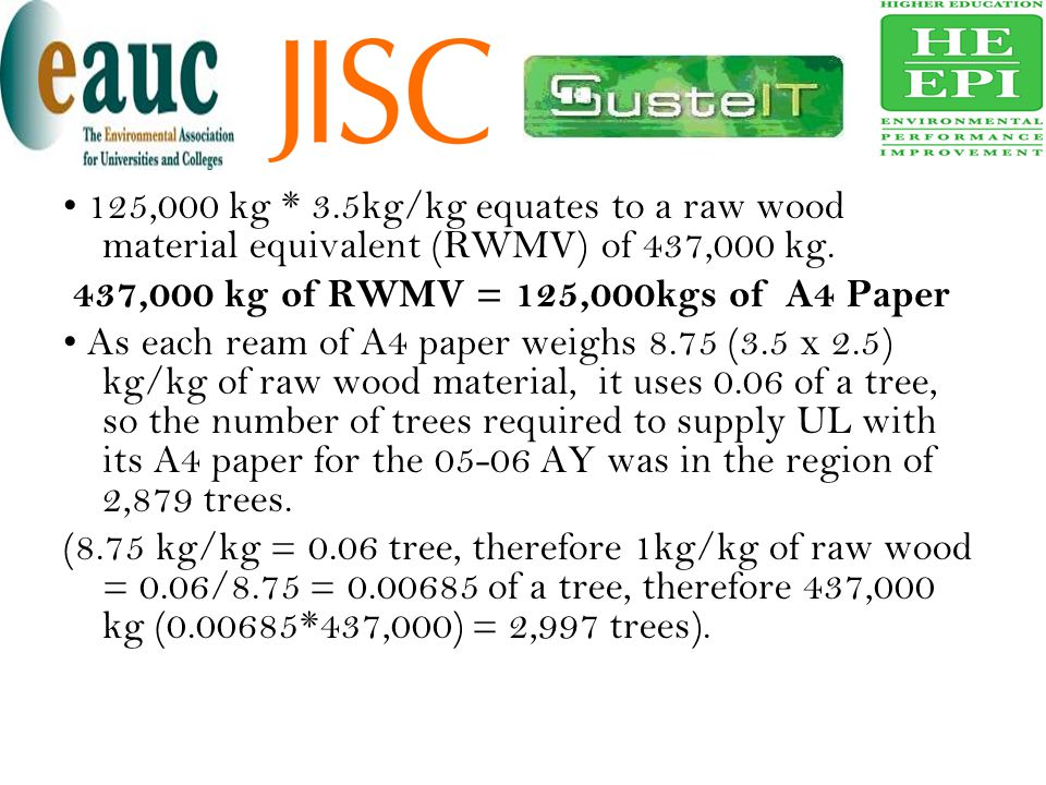 • 125,000 kg * 3.5kg/kg equates to a raw wood material equivalent (RWMV) of 437,000 kg.