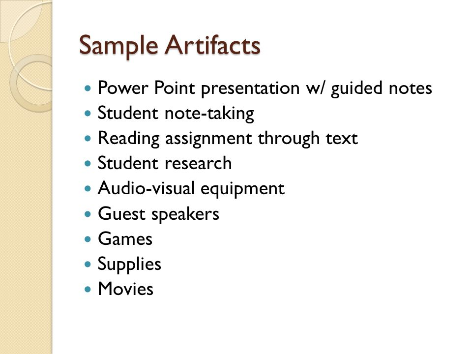 Sample Artifacts Power Point presentation w/ guided notes