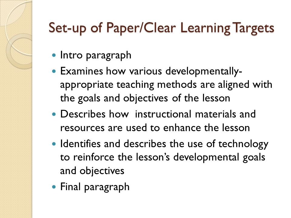 Set-up of Paper/Clear Learning Targets