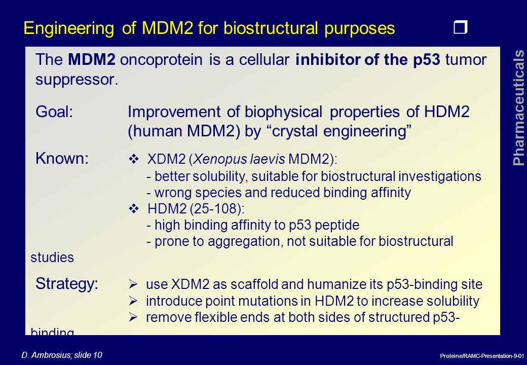 Engineering of MDM2 for biostructural purposes