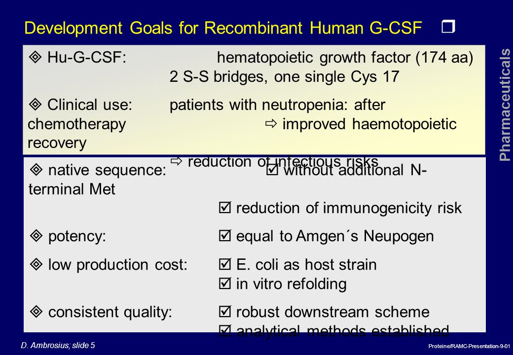 Development Goals for Recombinant Human G-CSF