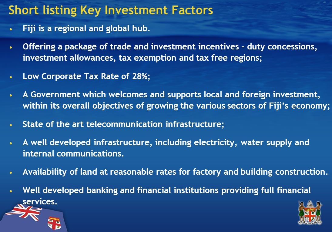 Short listing Key Investment Factors ….cont'd