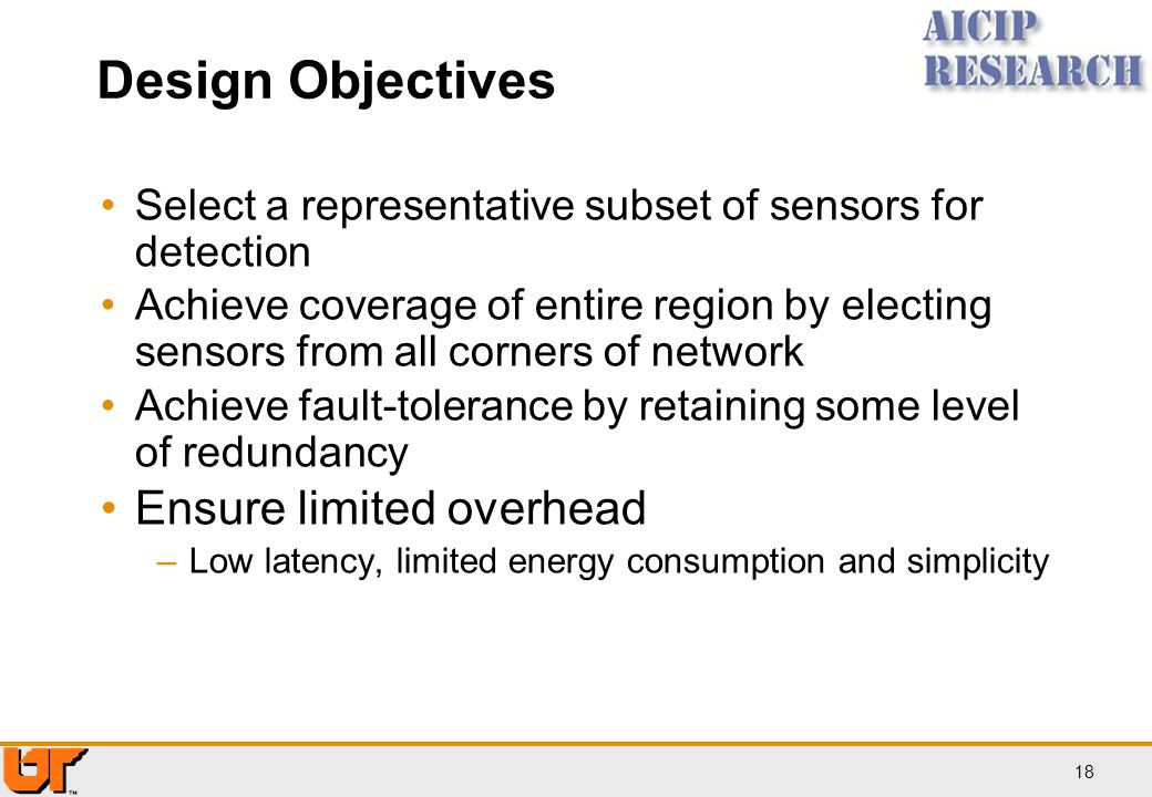 Design Objectives Ensure limited overhead