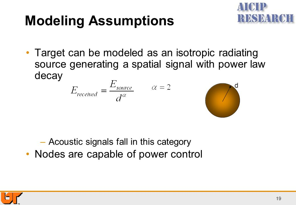 Modeling Assumptions Target can be modeled as an isotropic radiating source generating a spatial signal with power law decay.