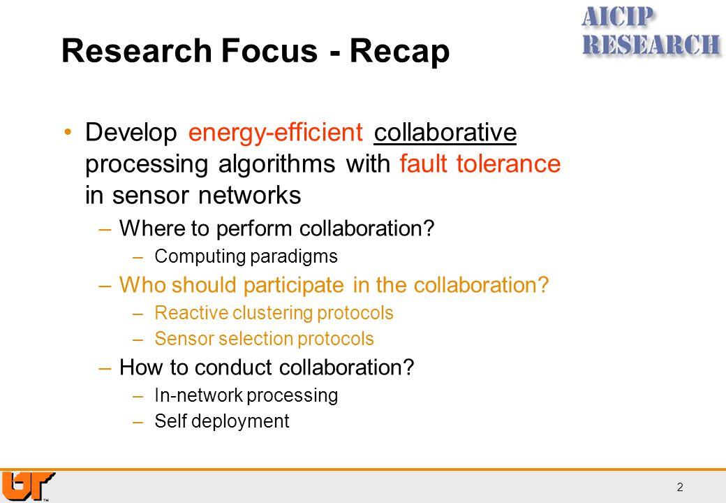 Research Focus - Recap Develop energy-efficient collaborative processing algorithms with fault tolerance in sensor networks.