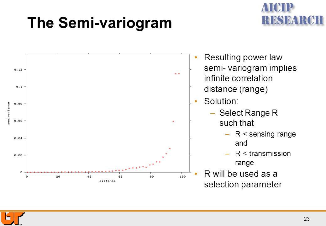 The Semi-variogram Resulting power law semi- variogram implies infinite correlation distance (range)