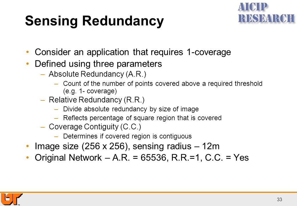 Sensing Redundancy Consider an application that requires 1-coverage